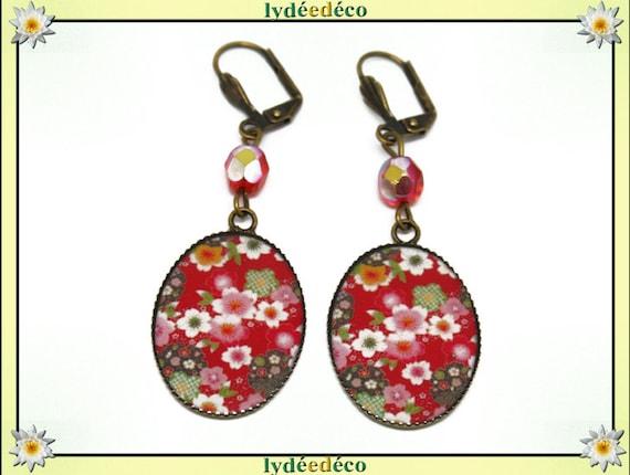 Retro earrings cabochon sakura resin flower Japan red white green resin beads bronze faceted 18 x 25mm