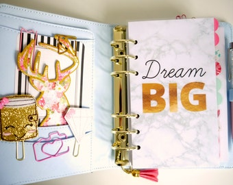 Dream Big Marble Personal, A5, A6, B6 & Pocket Size Planner Dashboards