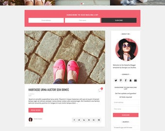 "Blog Design Blogger Template - Responsive and Customizable - Pink - ""Natasha"" - Slider and drop down menu -Instant Digital Download"