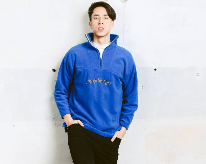 Blue Fleece Sweater . 90s Men's Vintage Sweater Unisex Pullover Cozy Comfy Sweater Boyfriend Gift Mens Anorak Jacket . size Medium M