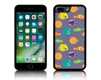 Fish on the Waves - Silicone Case for Apple iPhone 5, 5S, 5C, SE, 6, 6 Plus, 6S, 6S Plus, 7, 7 Plus 8 8 Plus iPhone X
