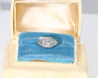 Diamond Engagement Ring | Set in 14K White Gold | Old European Cut Diamond | Half Carat | Genuine | Wedding Jewelry |