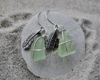 Seafoam Green Seaglass Feather Earrings - Sterling Silver