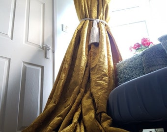 """NEW! Made To Order Sublime Huge Pair of  Old Gold Crushed Velvet Each Curtain Panel 113""""Drop 54""""Width  Lined Long Bay Curtains All Sizes"""