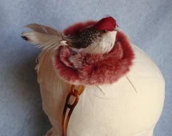 Vogel Stirnband Kaninchen Pelz Nest Robin rot Vogel Federn Winter Haar Accessoire Mädchen Womens Haar Band Fascinator Einheitsgröße