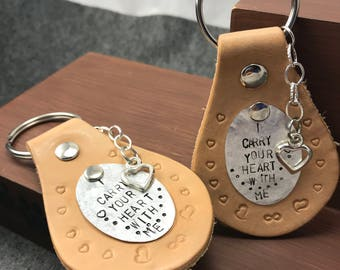 Couples Keychain, I Carry Your Heart With Me