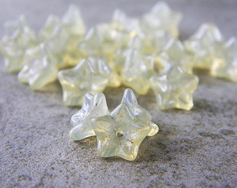 Pastel Lemon flower glass beads, Czech glass 5-petal trumpet flower beads, 8X5mm, Pastel lemon Yellow opal (20pcs) NEW