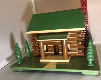 Vintage 1950's Wooden Log Cabin Decor Folk Art Chimney and Trees w/ Light Up Option