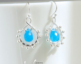 Aqua blue chalcedony gemstone sterling silver earrings, wire wrapped with genuine chalcedony faceted briolettes, wire wrap dainty ear rings