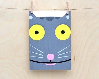 funny cat card, cute cat card, child's cat card, kids cat card