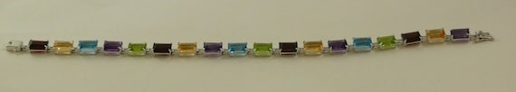 "Multi-Color 18.40 ct Gemstone 5 mm x 7 mm Bracelet With 14k White Gold 7"" Long"