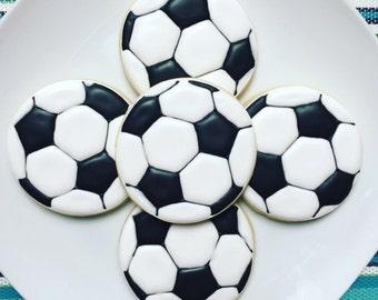 One Dozen Soccer Sugar Cookies
