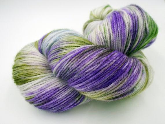Hand Dyed Yarn Hand Dyed Sock Yarn Superwash Merino Nylon Blend 80/20 Fingering Weight Yarn - Purple Yarn Green Yarn - Crocus In Snow