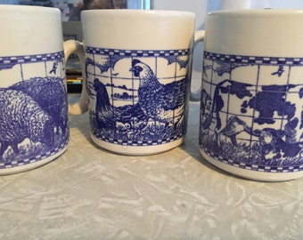 Royal blue cobalt churchill farm animal mugs