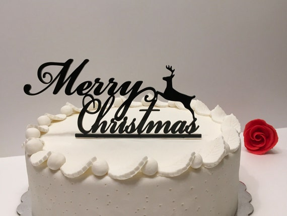 Christmas Eve Cake Topper Custom reindeer Christmas party Black Cake Topper Christmas centerpiece Custom Cake Toppers Merry Xmas table decor