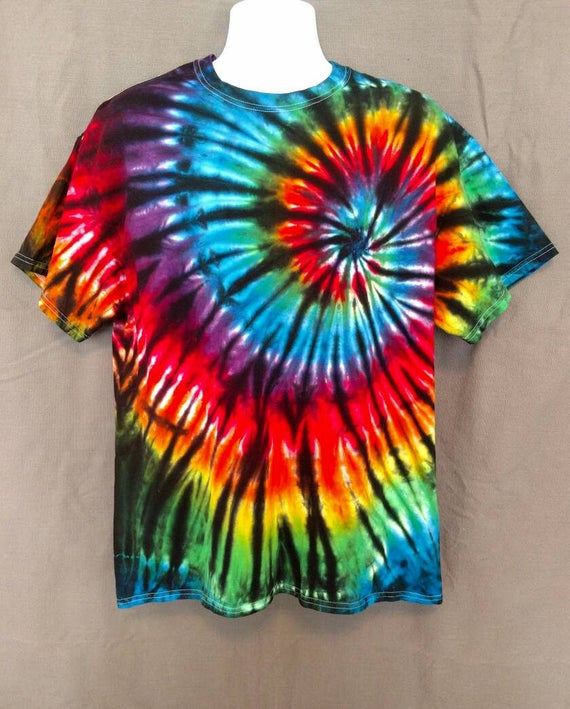 Black Backed Rainbow Spiral Tie Dye Shirt/Kids Tie Dye T-Shirt/Hand Dyed/Eco-Friendly Dying
