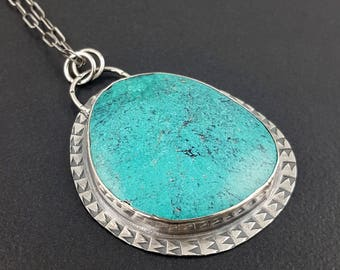 Turquoise Necklace, sterling silver, michele grady, stamped, turquoise, blue silver, turquoise jewelry, boho, bohemian necklace, pendant