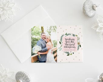 gold snowflakes christmas card · christmas greenery · snowflake photo card · christmas photos · family holiday card ·  our first christmas