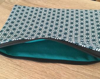 Kit flat cotton geometric Navy and turquoise - makeup storage