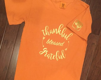 Fall/Thanksgiving Tee         Thankful Grateful Blessed