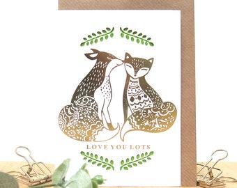 Fox lover card, Cute anniversary card, Wife anniversary card, Husband anniversary card, Love you card, Romantic anniversary card, Fox card
