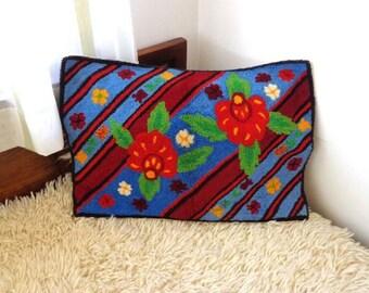 Vintage decorative embroidered pillow. Cotton Pillow Case. Antique Art Folk Pillow.