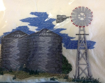 Windmill & Silos embroidered flour sack dish towel