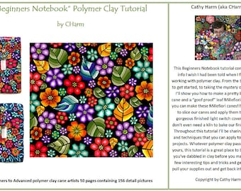 Beginners Notebook polymer clay canes and project tutorial by CHarm