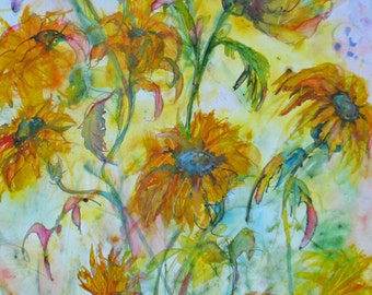large original sunflower watercolor painting,flower art,floral art, abstract flower painting, 16 x 20 painting,home decor, wall decor art