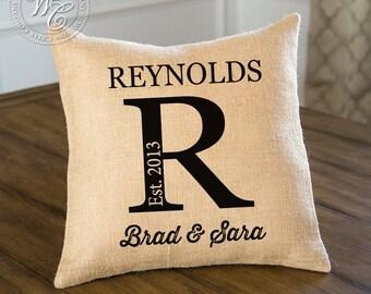 farmhouse decor, Family Name, Burlap, Personalized Pillow, Burlap Pillow, Engagement Gift, Personalized Gift, Monogram Pillow, Established