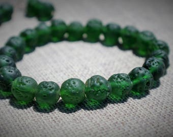 Green Pitted Glass Stone Bracelet Set