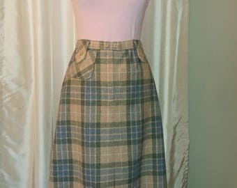 Vintage Plaid Wool Skirt.