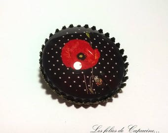 Brooch round Cabochon • poppies girl •