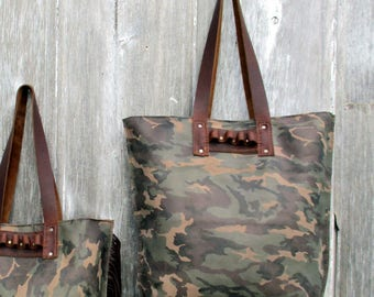 """Camouflage Leather Tote Bag """"Ammo"""" Loops by Stacy Leigh"""
