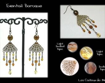 Earrings 'Range Baroque' - BRONZE + 2 Topaz