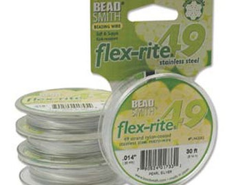 """Jewelry Making Supplies-Beadsmith Flex-rite 49 Strand Beading Wire - Pearl Silver Color - .014"""" 30 ft - SKU:501039-14S"""