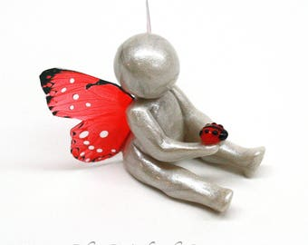Ladybug Symbol of Comfort - child loss sympathy miscarriage gift - clay baby sculpture -  gift of comfort - made to order