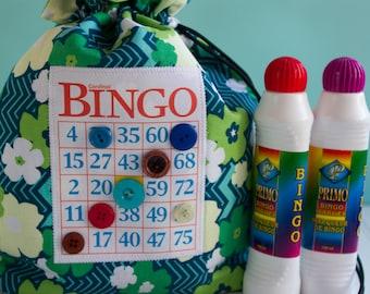 Bingo Bag - Floral Drawstring Bag - Knitting Project Bag - Reusable Lunch Bag - Bingo Gift - Bingo Dauber Bag - Organizer - Makeup Bag