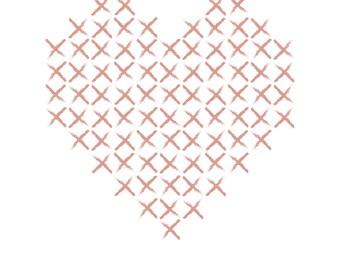 Cross Stitch Heart Print