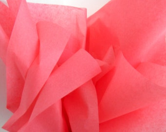 Coral Pink Tissue Paper, 48 Sheets 20 x 30 in. / 50.8 x 76 cm of Gift Tissue, Wedding DIY, Shower Supplies, Pompom Supplies