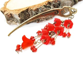 Japanese hair stick frosted red lucite flowers - metal hairstick hairpin geisha hair piece kanzashi hair ornament hair chopstick decoration
