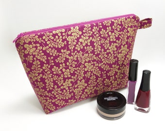 Purple and gold leaves printed cotton makeup bag / Zipper storage