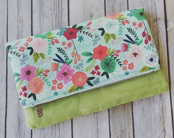 Fold Over Floral Clutch Purse, Folded Clutch Purse, Floral Clutch, Foldover evening bag