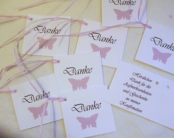 20 Cards Thank you confirmation punched with string, lilac butterfly handmade
