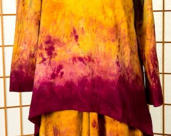 Women's TUNIC, Asymmetric, Gold, Magenta, Green, Long Sleeve, 100% Cotton, Hand Dyed, READY To Ship, OOAK, Boho, Travel, Comfortable, Cruise