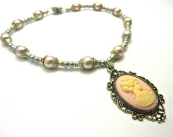 Romantic cameo necklace pink and ivory pink glass beads