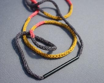 Boho, Statement Necklace, Crochet Necklace, Oversized Necklace, Geometric, Fiber Art, Beach, Best friend Gift, Free shipping, Minimal