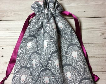 Drawstring project bag - Curly Sheep