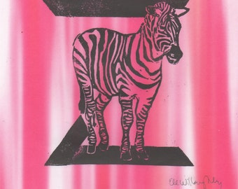 Zebra Z Monogram Linocut - Alphabet Typographic Lino Block Print with Animals, Z is for Zebra