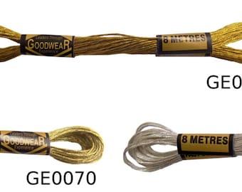 6 x 100 % coton broderie fil 8 mètres écheveaux Metallics * 3 couleurs *